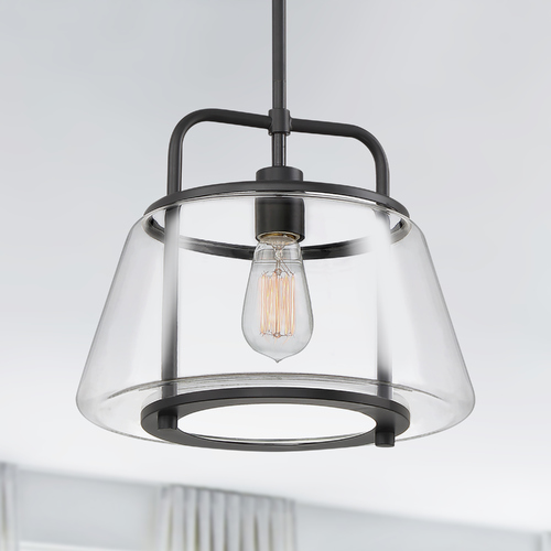 Quoizel Lighting Quoizel Lighting Kettle Earth Black Pendant Light with Empire Shade KTE1713EK