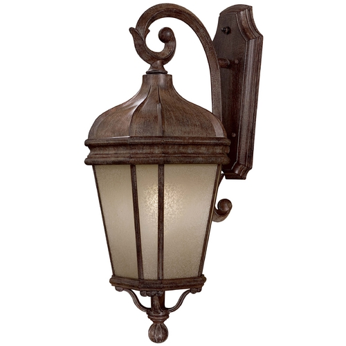 Minka Lavery Outdoor Wall Light with Beige / Cream Glass in Vintage Rust Finish 8692-1-61-PL
