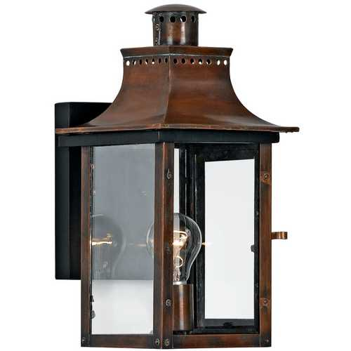 Quoizel Lighting Outdoor Wall Light with Clear Glass in Aged Copper Finish CM8408AC