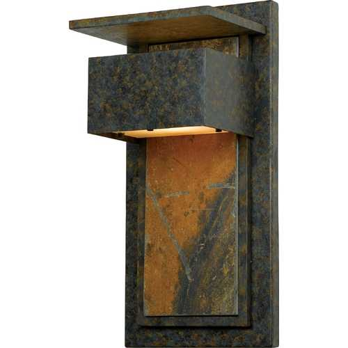 Quoizel Lighting Modern Outdoor Wall Light with White Glass in Muted Bronze Finish ZP8418MD