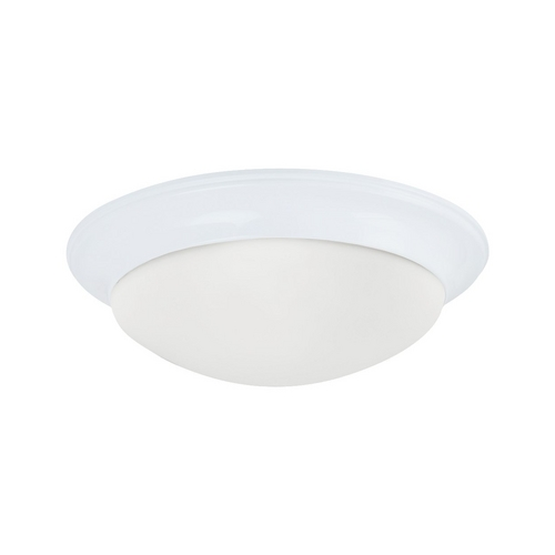 Sea Gull Lighting Flushmount Light with White Glass in White Finish 79434BLE-15
