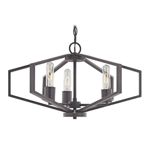 Dolan Designs Lighting Hexagon 3-Light Chandelier- Bronze Finish 1144-78