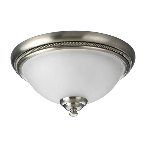 Progress Lighting Progress Flushmount Light with White Glass in Brushed Nickel Finish P3478-09