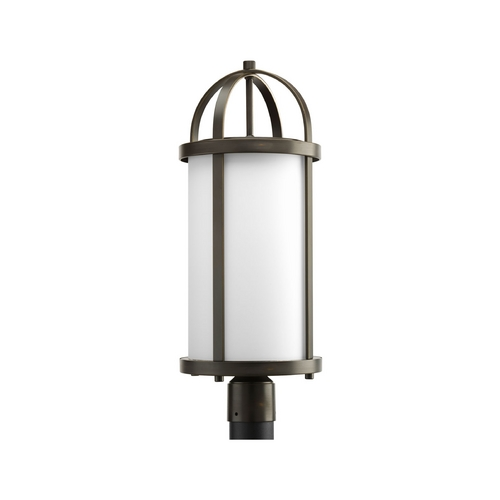 Progress Lighting Progress Post Light with White Glass in Antique Bronze Finish P5449-20
