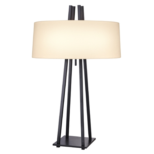 Sonneman Lighting Modern Pull-Chain Table Lamp with Linen Drum Shade 6160.19