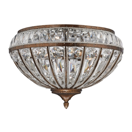 Elk Lighting Crystal Flushmount Light in Mocha Finish 46044/4