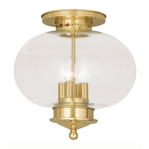 Livex Lighting Livex Lighting Harbor Polished Brass Close To Ceiling Light 5039-02