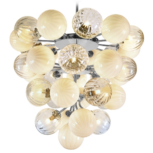 Oggetti Lighting Oggetti Lighting Perle Chrome Pendant Light with Globe Shade 18-P3500/CLWH