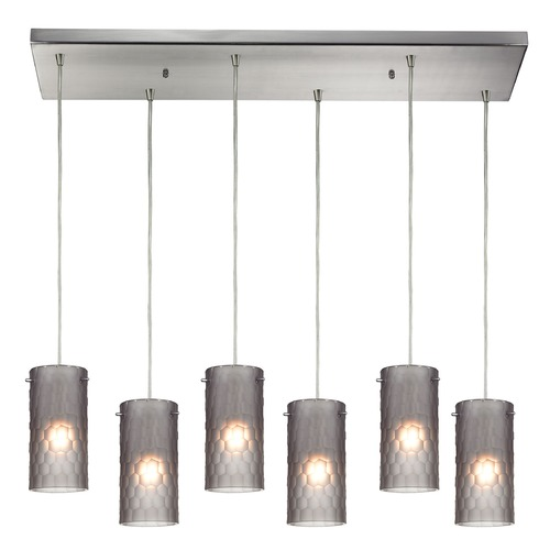 Elk Lighting Elk Lighting Synthesis Satin Nickel Multi-Light Pendant with Cylindrical Shade 10243/6RC-FSM