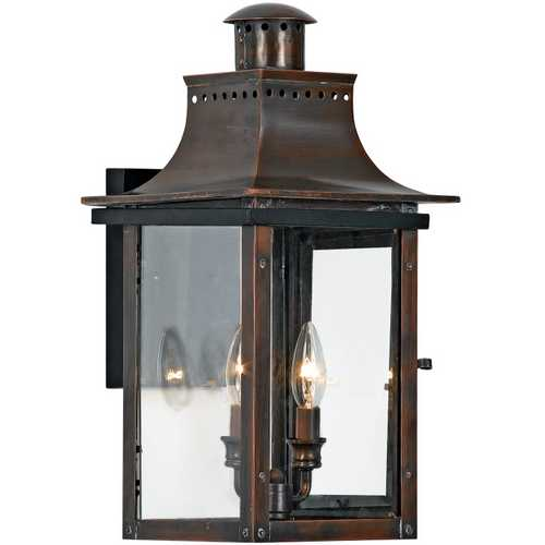Quoizel Lighting Outdoor Wall Light with Clear Glass in Aged Copper Finish CM8410AC
