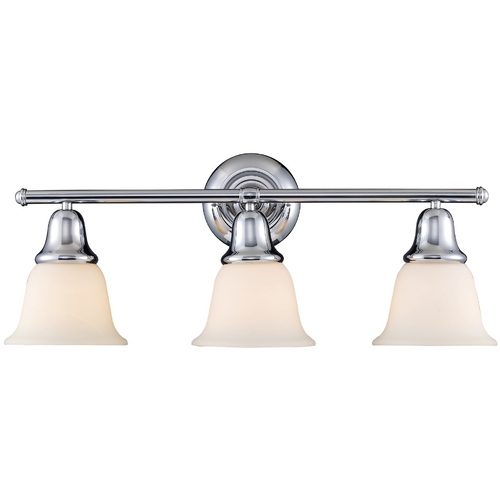 Elk Lighting Bathroom Light with White Glass in Polished Chrome Finish 67012-3