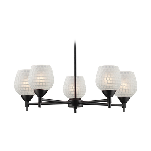 Elk Lighting Chandelier with Art Glass in Dark Rust Finish 10155/5DR-WHT