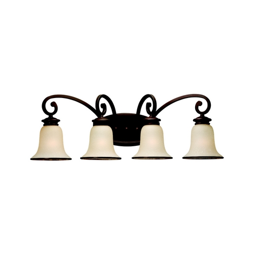 Sea Gull Lighting Bathroom Light with Champagne Seeded Glass in Misted Bronze Finish 44147-814