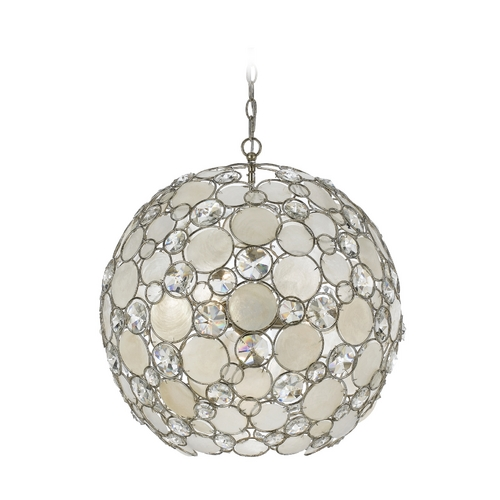 Crystorama Lighting Crystal Pendant Light with White Glass in Antique Sliver Finish 529-SA