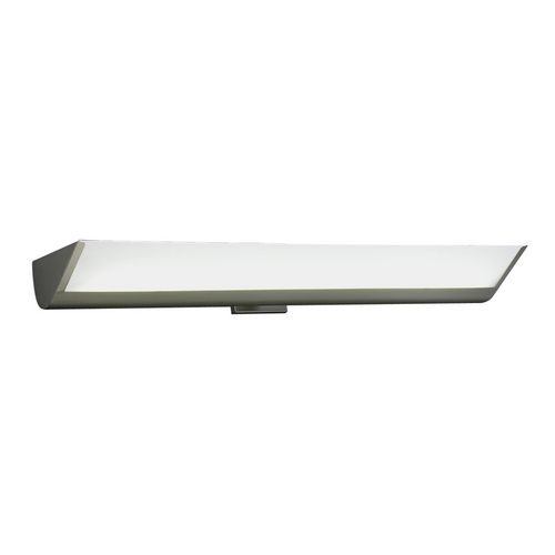 PLC Lighting Modern Bathroom Light with White Glass in Satin Nickel Finish 1054 SN