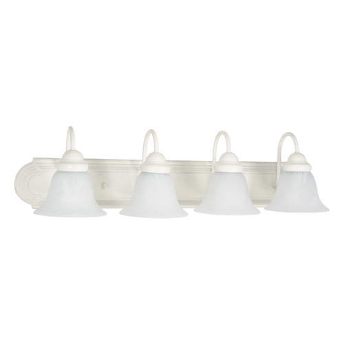Nuvo Lighting Bathroom Light with Alabaster Glass in Textured White Finish 60/334