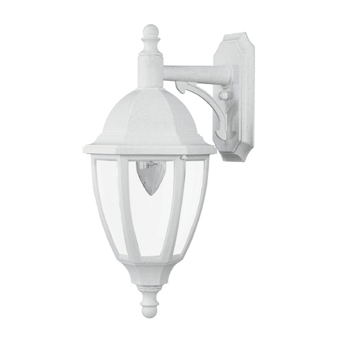 Wave Lighting Outdoor Wall Light with Clear Glass in Whitestone Finish S11VC-WH