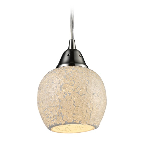 Elk Lighting Elk Lighting Fission Satin Nickel Mini-Pendant Light with Bowl / Dome Shade 10208/1CLD-LA