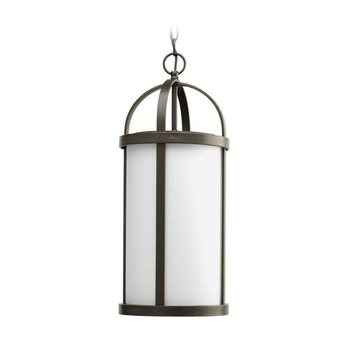 Progress Lighting Progress Outdoor Hanging Light with White Glass in Bronze Finish P5549-20