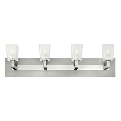 Hinkley Lighting Modern Bathroom Light with White Glass in Brushed Nickel Finish 51564BN