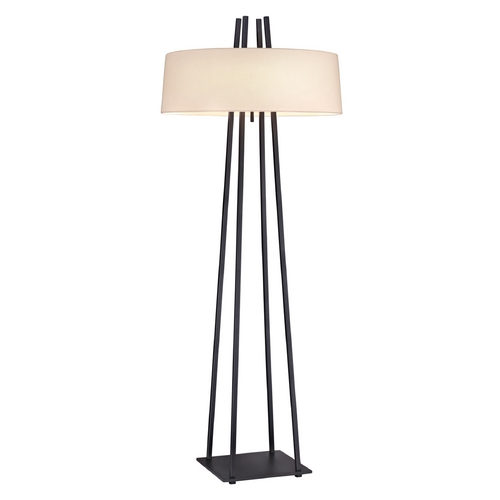 Sonneman Lighting Modern Pull-Chain Floor Lamp with Linen Drum Shade 6161.19
