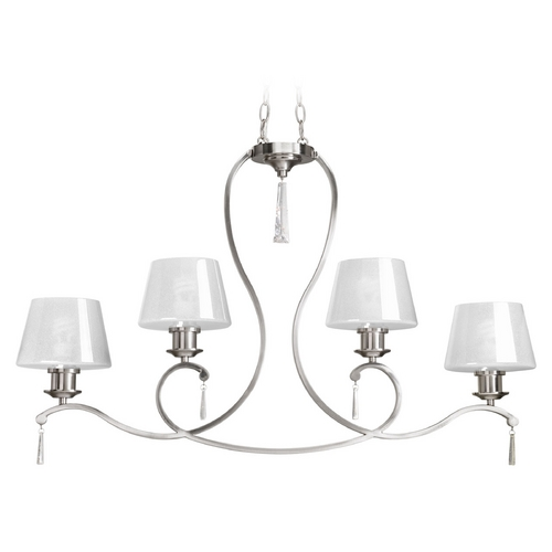 Progress Lighting Progress Lighting Dazzle Brushed Nickel Island Light with Empire Shade P4526-09
