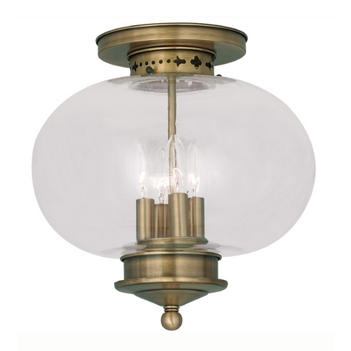 Livex Lighting Livex Lighting Harbor Antique Brass Close To Ceiling Light 5039-01