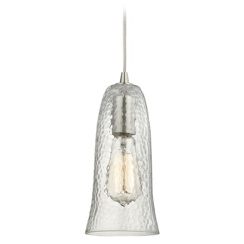 Elk Lighting Elk Lighting Hammered Glass Satin Nickel Mini-Pendant Light with Bell Shade 10431/1CLR