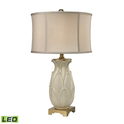 Dimond Lighting Dimond Lighting Ivory Glaze, Antique Brass LED Table Lamp with Drum Shade D2598-LED
