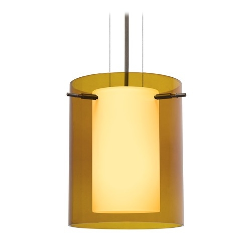 Besa Lighting Besa Lighting Pahu Bronze LED Mini-Pendant Light with Cylindrical Shade 1KG-G00607-LED-BR
