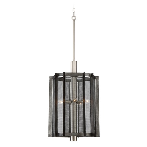 Designers Fountain Lighting Designers Fountain Baxter Weathered Iron Pendant Light with Cylindrical Shade 89355-WI