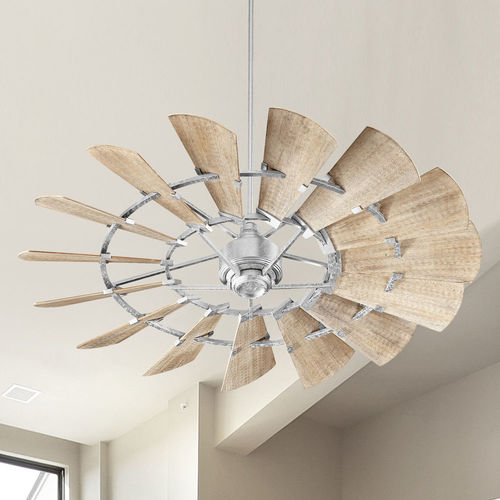 Quorum Lighting Quorum Lighting Windmill Galvanized Ceiling Fan Without Light Damp Rated 196015-9