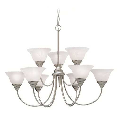 Kichler Lighting Kichler Brushed Nickel 9-Light Chandelier with Alabaster Swirl Glass 2077NI