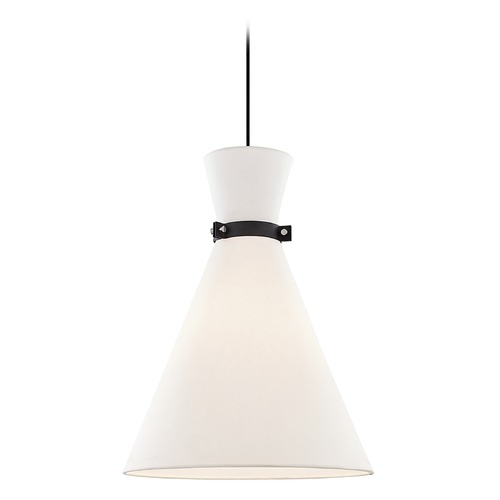 Mitzi by Hudson Valley Mitzi By Hudson Valley Julia Polished Nickel / Black Pendant Light with Conical Shade H294701L-PN/BK