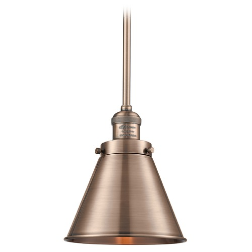 Innovations Lighting Innovations Lighting Appalachian Antique Copper Mini-Pendant Light with Conical Shade 201S-AC-M13-AC