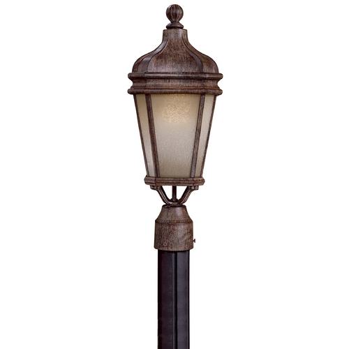 Minka Lavery Post Light with White Glass in Vintage Rust Finish 8695-1-61-PL