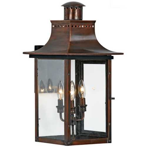 Quoizel Lighting Outdoor Wall Light with Clear Glass in Aged Copper Finish CM8412AC