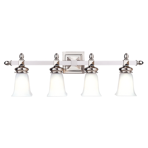 Hudson Valley Lighting Bathroom Light with White Glass in Polished Nickel Finish 2824-PN