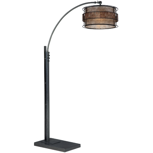 Quoizel Lighting Modern Arc Lamp with Taupe Mica Shade in Black Finish Q4574A
