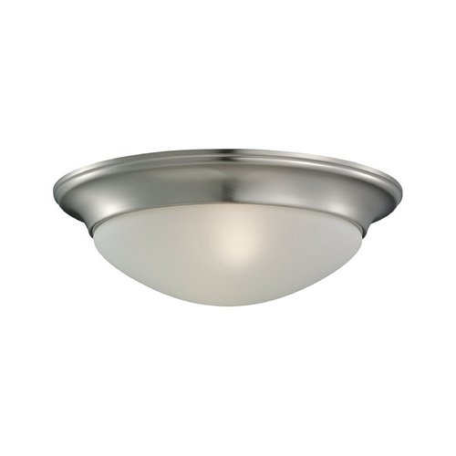 Sea Gull Lighting Flushmount Light with White Glass in Brushed Nickel Finish 79434BLE-962