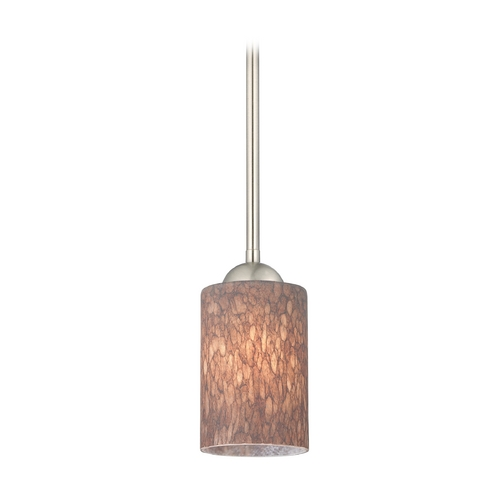 Design Classics Lighting Modern Mini-Pendant Light with Brown Art Glass 581-09 GL1016C