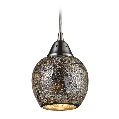 Elk Lighting Elk Lighting Fission Satin Nickel Mini-Pendant Light with Bowl / Dome Shade 10208/1SLV-LA