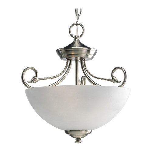 Progress Lighting Progress Semi-Flushmount Ceiling Light with White Glass P3738-09