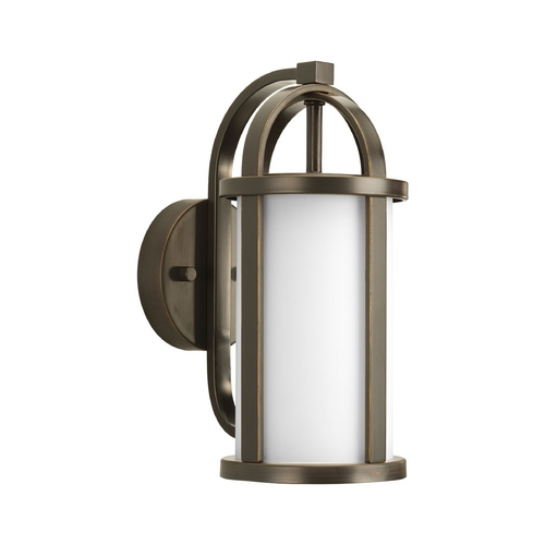 Progress Lighting Progress Outdoor Wall Light with White Glass in Antique Bronze Finish P5631-20