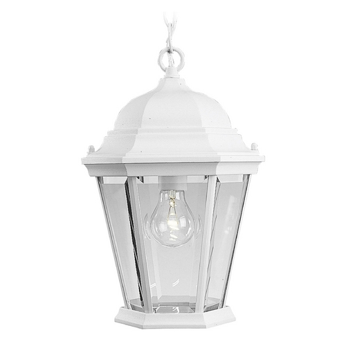 Progress Lighting Progress Outdoor Hanging Light with Clear Glass in White Finish P5582-30