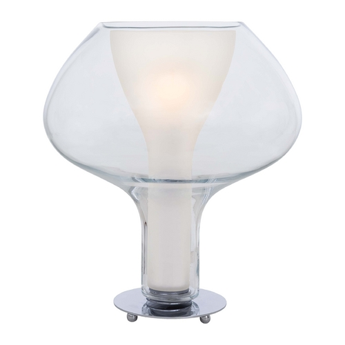 George Kovacs Lighting Modern Table Lamp with White Glass in Chrome Finish P3807-077