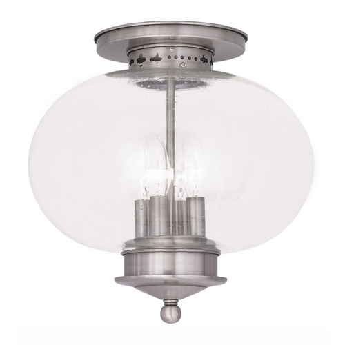 Livex Lighting Seeded Glass Close To Ceiling Light Brushed Nickel Livex Lighting 5038-91