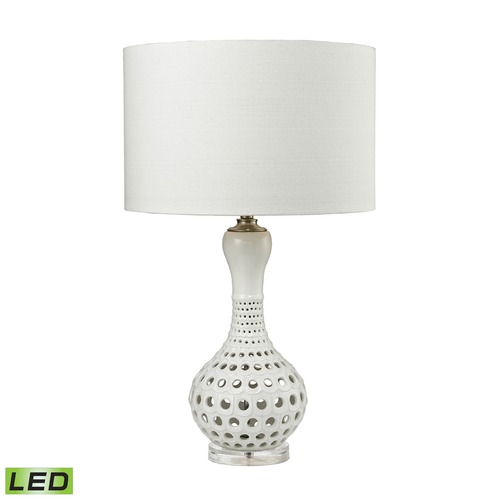 Dimond Lighting Dimond Lighting Gloss White LED Table Lamp with Drum Shade D2605-LED
