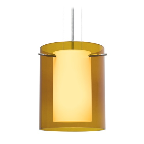 Besa Lighting Besa Lighting Pahu Satin Nickel LED Mini-Pendant Light with Cylindrical Shade 1KG-G00607-LED-SN