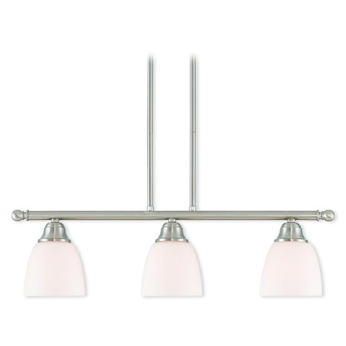 Livex Lighting Livex Lighting Somerville Brushed Nickel Island Light with Bowl / Dome Shade 53854-91